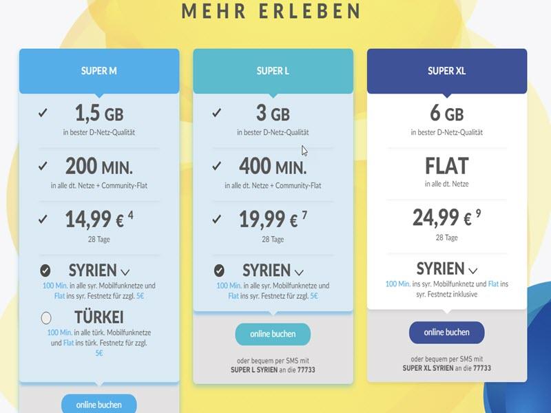 عرض خاص (إتصال مفتوح) الى سوريا من ألمانيا بأرخص سعر